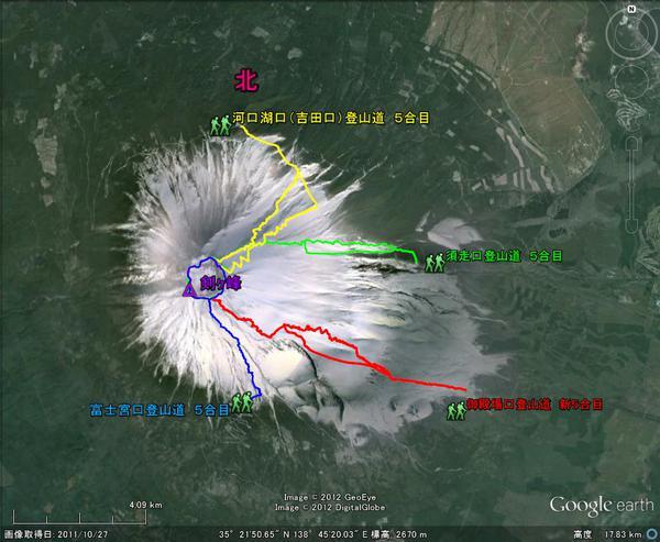 富士山の4つの登山道