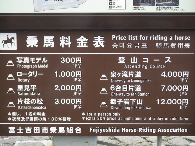 富士スバルライン五合目 乗馬料金表