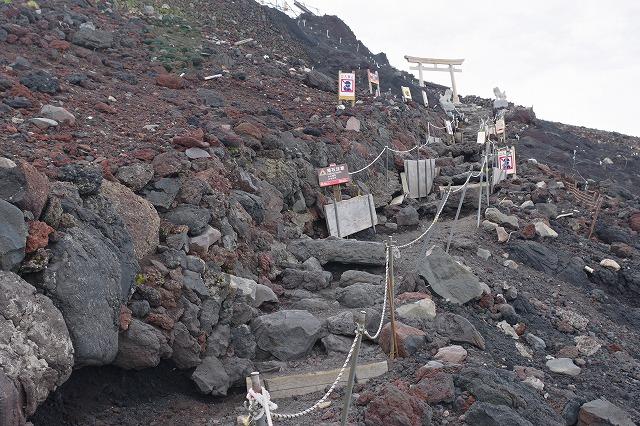 吉田ルート登山道(登りルート) 九合目~山頂