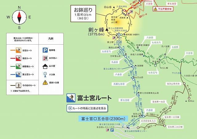 富士山 富士宮ルートの登山地図・マップ・コースタイム