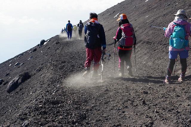 富士山下山道で見られる砂埃・砂煙