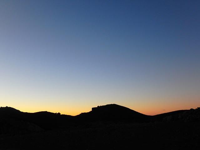 富士山頂の日暮れ