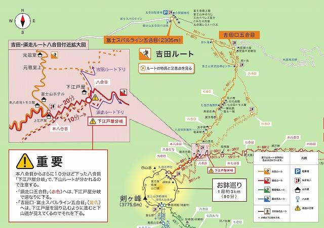 富士山 吉田ルートの登山地図・マップ・コースタイム