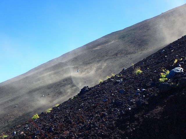 富士山 登山 砂嵐 砂埃